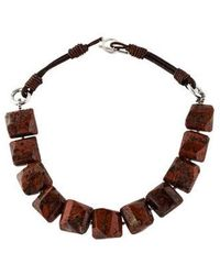 Brunello Cucinelli - Jasper Bead Necklace Silver - Lyst