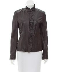 MICHAEL Michael Kors - Michael Kors Leather Ruffle Front Jacket Black - Lyst