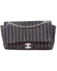 Lyst - Chanel Mademoiselle Ligne Shoulder Bag Black in Metallic 0f8c14046729b