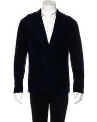 Closed - Rib Knit Felted Jacket Navy - Lyst