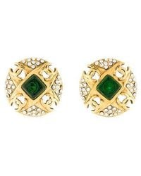 Chanel - Gripoix & Crystal Cc Clip-on Earrings Gold - Lyst