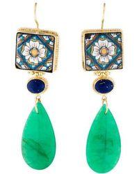 Tagliamonte - Dyed Quartzite, Ceramic & Glass Drop Earrings Gold - Lyst