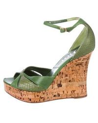 Dior - Snakeskin-trimmed Leather Wedges Green - Lyst