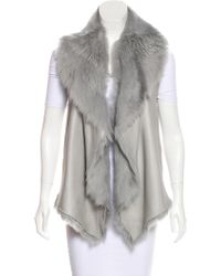 Nellie Partow - Reversible Shearling Vest Grey - Lyst
