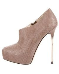 Brian Atwood - Pointed-toe Platform Booties Neutrals - Lyst