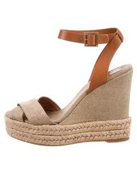 5e0a190cfc6 Lyst - Tory Burch Suede Ankle Strap Wedges Tan in Natural