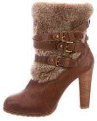 fb295ab33cfd Lyst - Stuart Weitzman Womens Furgie Suede Faux Fur Trim Ankle Boots ...