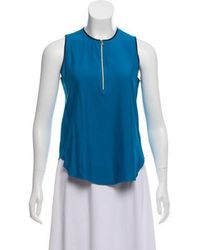 L'Agence - Leather-trimmed Silk Top - Lyst