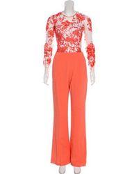 Zuhair Murad - Silk-blend Embroidered Jumpsuit Orange - Lyst