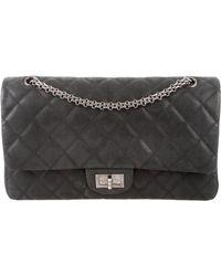 c65e64497e70 Lyst - Chanel Jersey Reissue 227 Double Flap Bag Navy in Metallic