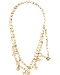 Louis Vuitton - Charm Double Strand Necklace Gold - Lyst