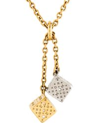 Louis Vuitton - Dice Pendant Necklace Gold - Lyst