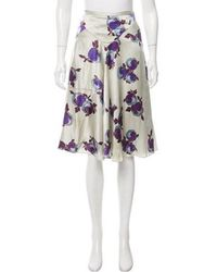 Rochas - Distressed Floral Print Skirt - Lyst