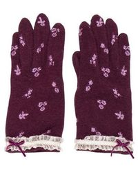 Anna Sui - Floral Embroidered Gloves Violet - Lyst