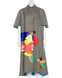 Delpozo - Wool Long Coat Grey - Lyst