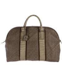 Bottega Veneta - Crocodile-trimmed Intrecciato Duffle Bag - Lyst
