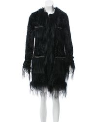 Hervé Léger - Aston Fur-trimmed Coat W/ Tags - Lyst