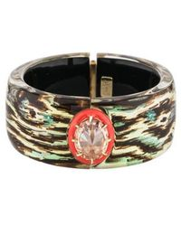 Alexis Bittar - Lucite & Crystal Wide Hinged Bangle Gold - Lyst