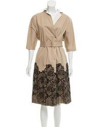 Lela Rose - Lace Trim Trench Coat Beige - Lyst