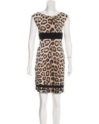 Lyst - Roberto Cavalli Leopard Print Lace-up Dress Brown in Metallic 06c2bff46