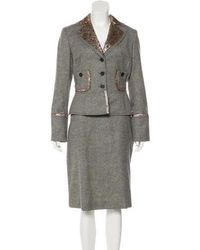 Carolina Herrera - Virgin Wool Skirt Suit Grey - Lyst