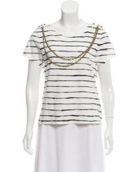Gryphon - Short Sleeve Striped Top White - Lyst