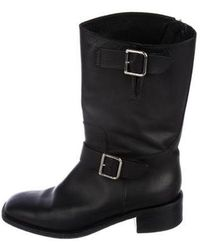 Chanel - Leather Mid-calf Boots Black - Lyst