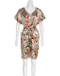John Galliano - Newspaper Floral Print Silk Dress Tan - Lyst