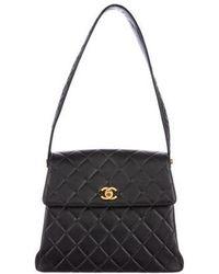 b001b972b206 Lyst - Chanel Quilted Caviar Kelly Shoulder Bag Black in Metallic