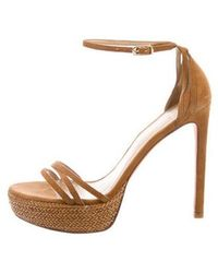 73aa90e9884 Lyst - Stuart Weitzman New Deal Suede Sandals Tan in Natural