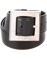 BVLGARI - Leather Buckle Belt Black - Lyst