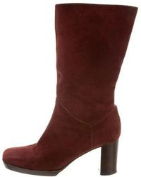 Chanel - Suede Mid-calf Boots Burgundy - Lyst