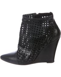 Sandro - Leather Wedged Booties Black - Lyst
