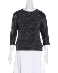 Gryphon - Leather-accented Knit Sweater Grey - Lyst