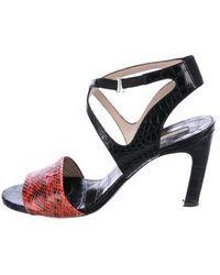 c2468b8a5a0 Dries Van Noten - Snakeskin-trimmed Ankle Strap Sandals Black - Lyst
