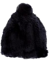 Glamourpuss - Knitted Fur Beanie W/ Tags Navy - Lyst