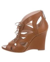 Miu Miu - Miu Cutout Wedge Sandals Cognac - Lyst