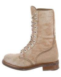 46b1cc92279f Lyst - Louis Vuitton Ponyhair Wedge Ankle Boots Brown in Metallic