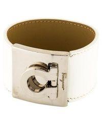 Ferragamo - Gancio Leather Bracelet Silver - Lyst