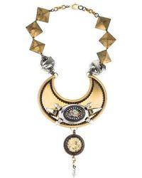 Erickson Beamon - Crystal & Resin Collar Necklace Gold - Lyst