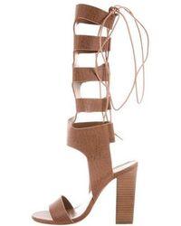 Zimmermann - Leather Lace-up Sandals Cognac - Lyst