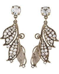 Lulu Frost - Crystal Leaf Drop Earrings Silver - Lyst