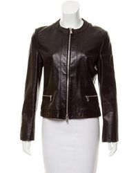 Michael Kors - Collarless Leather Jacket Black - Lyst