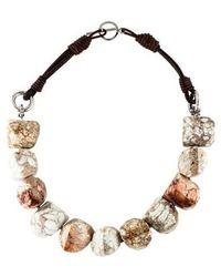 Brunello Cucinelli - Riverstone Bead Strand Necklace Silver - Lyst