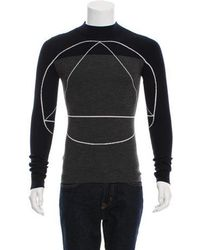 Dior Homme - Two-tone Wool Sweater Navy - Lyst