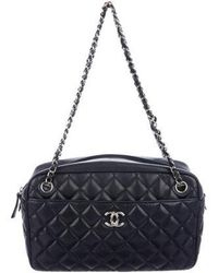 ae47aa3200f Lyst - Chanel Quilted Medium Camera Bag Navy in Metallic