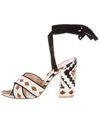 Gianvito Rossi - Woven Lace-up Sandals Brown - Lyst