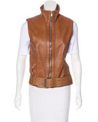 Michael Kors - Belted Leather Vest Cognac - Lyst