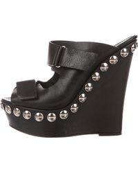 Giambattista Valli - Leather Embellished Wedges Black - Lyst