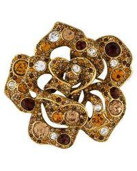 Kenneth Jay Lane - Crystal Embellished Brooch Gold - Lyst